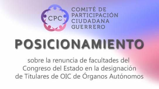 Posicionamiento sobre la renuncia de Facultades del Congreso en la designación de titulares de OIC